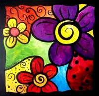 """Whimsical Flower Cluster"" by Stacey Bonham: Acrylic on paint board. A whimsica… ""Whimsical Flower Cluster"" by Stacey Bonham: Acrylic on Framed Wall Art, Wall Art Prints, Fine Art Prints, Framed Prints, Canvas Prints, Painting For Kids, Art For Kids, Wal Art, Whimsical Art"