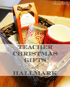 This is the cutest gift basket for a teacher!  Hallmark Gold Crown Christmas Gifts // #Hallmark #ad