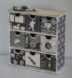 Kaisercraft medium drawer unit covered in Kaisercraft Art of Life collection My Crafty Madness Decoupage Drawers, Decoupage Vintage, Vintage Crafts, Upcycled Furniture, Home Decor Furniture, Painted Furniture, Altered Boxes, Diy Desk, Home And Deco