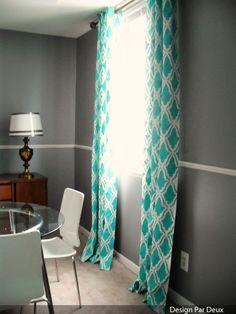 Great idea spray paint stenciled #curtains, look great & uber cheap! #DIY #interiordesign
