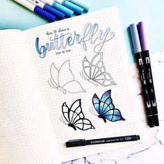This is how I draw a butterfly step by step🦋 Hope it can be useful :) . March Bullet Journal, Bullet Journal Notebook, Bullet Journal Ideas Pages, Bullet Journal Inspiration, Easy Butterfly Drawing, Butterfly Tattoos, How To Draw Butterfly, Butterfly Painting, Easy Doodle Art