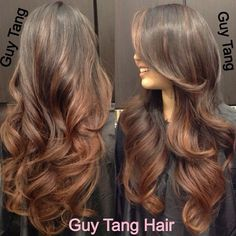 Caramel ombre on dark hair