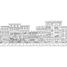 Custom Brownstone, Building, Block, City Illustrated Drawing ($50) ❤ liked on Polyvore