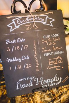 We love this unique idea on how to tell your story to your wedding guests! This couple put this sign up at the bar in cocktail hour for all to see! | Villa Siena | Poppyseed Photography | #Villasiena #weddingvenue #gilbertarizona #arizonaweddings #arizonaweddingvenue #weddingsigns #lovestory #unique #weddingdetails Wedding Signs, Wedding Venues, Wedding Planning Checklist, Siena, Our Love, Unique Weddings, Perfect Wedding, Wedding Details, Love Story