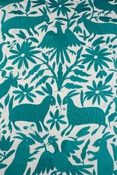 Otomi embroidered fabric - mexican