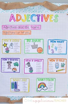 Anchor Chart Adjectives anchor chart - love this anchor chart to display while learning about adjectives!Adjectives anchor chart - love this anchor chart to display while learning about adjectives! Adjective Anchor Chart, Grammar Anchor Charts, Anchor Charts First Grade, Adjective Worksheet, Kindergarten Anchor Charts, Writing Anchor Charts, In Kindergarten, Teaching English Grammar, English Grammar Worksheets