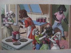 Vintage Alfred Mainzer Poodles Cooking Anthropomorphic Postcard by VintageByThePound on Etsy