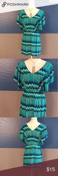 "NWOT Derek Heart Dress Beautiful Teal Green Multicolor Circular Cap Sleeve, 40"" Bust 30.5 Length, Rayon Bundle and Save Derek Heart Dresses"