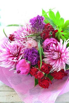 Beautiful bouquet of red and purple
