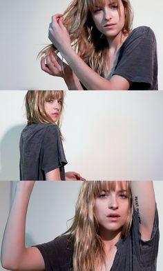 Dakota Johnson, her hair.