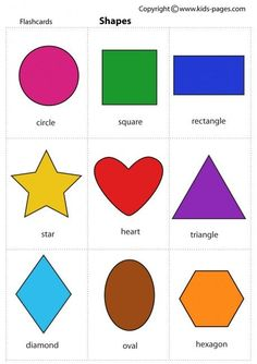 Kids Pages - Shapes- lots of other flash cards on this site. Use for a matching . - Kids Pages – Shapes- lots of other flash cards on this site. Use for a matching game Shapes Flashcards, Flashcards For Kids, Shapes Worksheets, Spanish Flashcards, Color Flashcards, Preschool Learning Activities, Kindergarten Worksheets, Preschool Activities, Kids Learning
