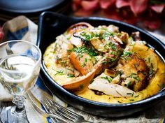 Herb and Miso Chicken Recipe with Creamy Polenta - Viva