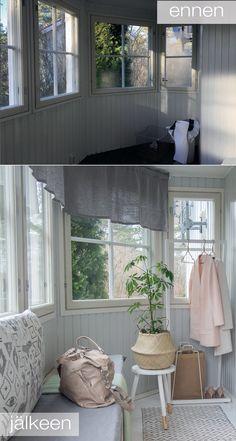 MUUTOSKOHDE: LASIKUISTI ENNEN JA JÄLKEEN: oblik. Roman Shades, Cottage, Windows, Curtains, Sweet, Kitchen, Summer, Home Decor, Candy