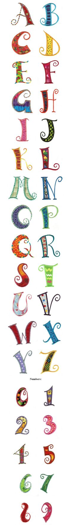 Here is a great curly applique alphabet. Capital letters and numbers included. Exclusive artwork for Designs by JuJu by Christopher Brown This font also inc Embroidery Designs, Embroidery Fonts, Embroidery Applique, Machine Embroidery, Embroidery Alphabet, Doodle Lettering, Creative Lettering, Lettering Styles, Applique Patterns