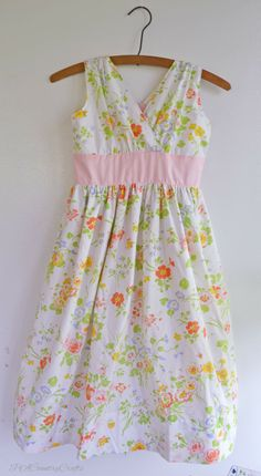 Blushing Izzy Dress TUTORIAL... made from a vintage sheet, the dress has a pretty, gathered bodice and is lined ~ PACountryCrafts