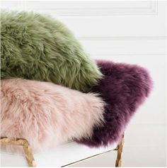 Shaggy, superbly soft and texturally sumptuous, our vibrant longwool pillows are carefully crafted from premium extra long unshorn sheepskin from Australia and New Zealand. Equally fabulous in neutral pastel shades or rich, saturated colors. Pink Couch, Sheepskin Throw, Decor Inspiration, Pillow Texture, Framed Fabric, Saturated Color, Pink Candy, Boho, Interiores Design