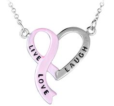 """Live, Laugh, Love"""" Pink Ribbon Heart Necklace - Now just $8.99!  Every Purchase Funds Mammograms for Women in Need."""