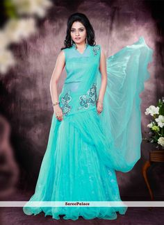 Net Turquoise Embroidered Work Designer Gown