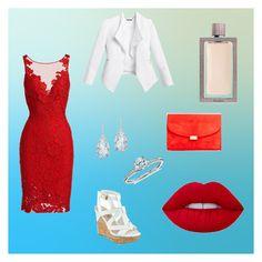 """red & white"" by samra-dzabija ❤ liked on Polyvore featuring White House Black Market, ML Monique Lhuillier, Mansur Gavriel, Blue Nile, Plukka, Lime Crime and Guerlain"