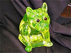 BULLDOG VASELINE GLASS DOORSTOP/FIGURINE