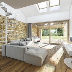 Proiecte gratis,Proiecte Case Parter Living Spaces, Living Room, Outdoor Furniture Sets, Outdoor Decor, Minimalism, Loft, Architecture, Terraces, Home Decor