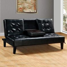 Home Source Faux Leather Sofa Bed with Drop Down Tray Black