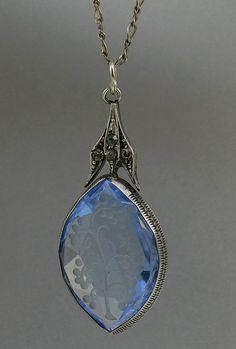 Vintage Art Deco Sterling Silver Blue Crystal Pendant by jujubee1, $58.50