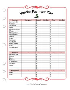 Great for wedding budget planning, this printable payment plan lists the fees, deposits and due dates for the ceremony and the reception. Free to download and print