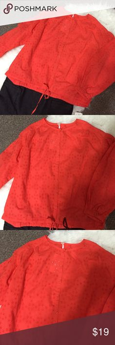 "Free People women's Orange eyelet blouse S/P Super nice, rich-orange colored blouse. Bust 22"", length 22"", sleeve 20"". Button front and ties at the waist.  Beautiful! Free People Tops Button Down Shirts"