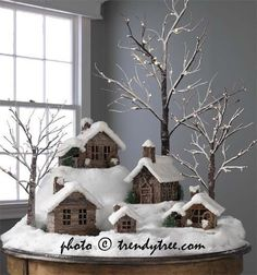 DIY Christmas Cardboard Putz Houses