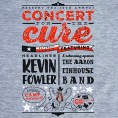 Shirt art design for Concert for the Cure's 10th annual show featuring Kevin Fowler & Aaron Einhouse #cftc2015 #texascountry #concerttee