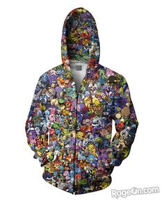d3773151d75c5e Pokemon Collage Zip-Up Hoodie – RageOn! - The World s Largest  All-Over-Print Online Store