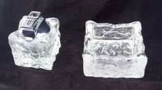 RARE Vintage Whitefriars Clear Bark Glass Table Lighter & Matching Ashtray Art Glass Crystal by ArtGlassGoodies on Etsy Glass Candle Holders, Glass Table, Light Table, Vintage Art, Glass Art, Handmade Items, Glass Crystal, Crystals, Kitsch