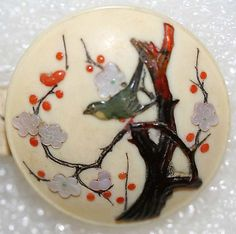 Antique Japanese, ivory, MOP and coral button.  ca. 1850.