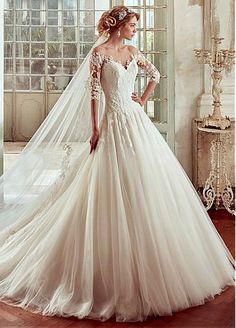 Vestidos de novia de tul de fascinación Bateau escote A-line con apliques de encaje
