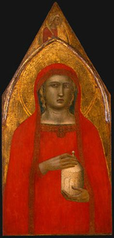 """""""St. Mary Magdalene"""" -- Circa 1306 -- Pietro Lorenzetti -- Italian -- Tempera & gold on panel -- No further reference provided."""