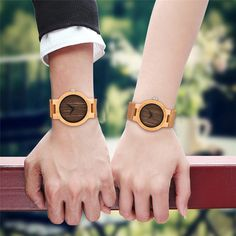 Simple Wood Watches Men Handmade Quartz Wrist Watch Trendy Couple Watches Valentine Present reloj Genuine Leather Band YISUYA . Valentines Presents, Couple Watch, Watches For Men, Men's Watches, Leather Fashion, Wood Watch, Quartz, Pairs, Band