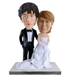 For the bride with a long train, this wedding gift of cake topper or wedding decoration is the perfect addition to your wedding. Customizable wedding couple can feature your faces on top of the bodies of this handsome happily married couple.