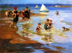 bofransson:Edward Henry Potthast (American Impressionist; 1857-1927) ~Children at Play on the Beach