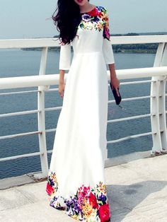 Three-Quarter Sleeve Flowers Printed Round Neckline Oversized Maxi Dress Long Dresses For Women