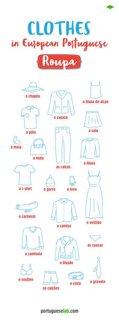 Learn vocabulary: clothes in European Portuguese. #brazilianportuguese