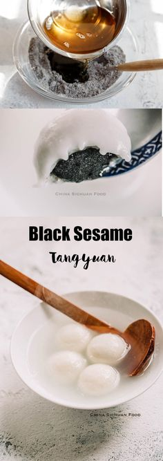 Classic Chinese festival food-Tang yuan with black sesame filling Chinese New Year Desserts, Asian Desserts, Fun Desserts, Asian Recipes, Chinese Food, Chinese Recipes, Japanese Food, Rice Cake Recipes, Healthy Dessert Recipes