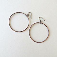 Rustic copper hoops copper earrings hoop by BLUEskyBLACKbird, $29.00