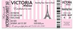 Printable Sweet 16 Paris Boarding Pass Invitation- Digital File- Any Occasion Paris Invitations, Passport Invitations, Birthday Invitations, Our Generation Doll Accessories, Paris Party Decorations, Elegance Paris, Paris France, Quinceanera Invitations, Quinceanera Ideas