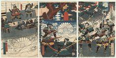 Original Sadahiro (active circa late 1820s - mid-1850s) Japanese Woodblock Print  Presenting Enemies' Heads to Kusunoki Masashige for Identification
