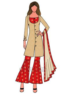 Buy Red Art Silk Sharara Suit online, SKU Code: This Red color Party sharara suit for Women comes with Sequins Net . Dress Design Sketches, Fashion Design Drawings, Fashion Sketches, Diva Fashion, Fashion Art, Diy Fashion Dresses, Dress Sewing Tutorials, Croquis Fashion, Fashion Illustration Dresses