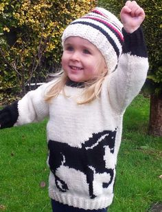 Knitting Pattern for Horse Sweater - Pullover featuring a horse motif and matching hatfor ages 2 to 10 years.