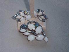 Vintage Costume Rhinestone Brooch & Clip Earring Set by pasttimejewelry, $35.00