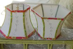 """""""Lampshades as a design element; Lakes Lampshade's Lampshade Lady takes lampshade making to an art. Make A Lampshade, Lampshades, Diy Furniture Projects, Fun Projects, Lamp Inspiration, Vintage Embroidery, Embroidery Ideas, Vintage Lamps, Drum Shade"""
