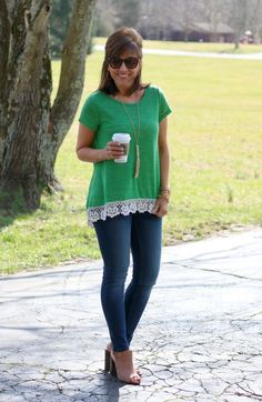 Go green! Try this St. Patrick's Day outfit on the 17th.